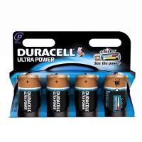 4 GENUINE DURACELL D BATTERIES ULTRA POWER  1.5V ALKALINE BATTERY