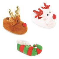 Kids Novelty XMAS Elf Slipper Rudolph Reindeer Slipper